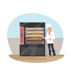 Bakery and baker at shop flat design vector