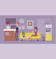 bank office interior design vector image