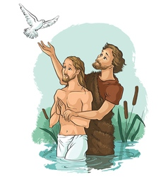 Baptism of jesus christ christian vector