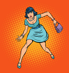 beautiful woman with a bag running vector image