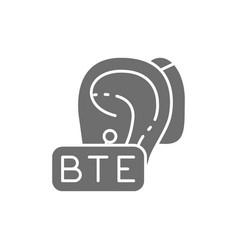 Behind ear hearing aid bte gray icon vector