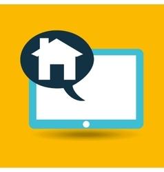 Blue tablet cartoon home page web design vector