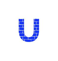 Brick logo letter u vector