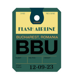 Bucharest airport luggage tag vector