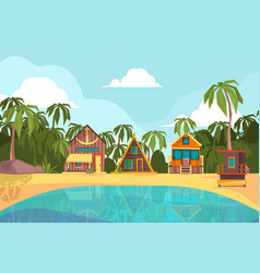bungalow seaside summer beach with tropical vector image
