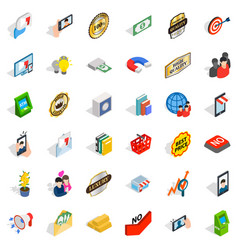 business cooperation icons set isometric style vector image