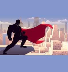 businessman superhero watching on roof vector image