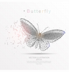 Butterfly digitally drawn low poly triangle wire vector