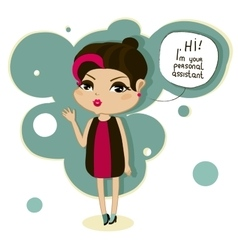 cartoon girl says hello vector image