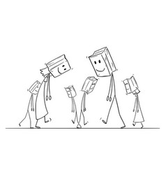 Cartoon sad and depressed people walking vector