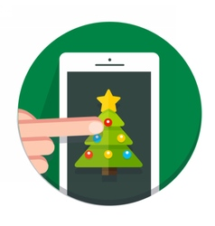 Circle Christmas icon flat vector