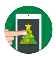 Circle christmas icon flat vector