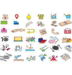 Colorful and flat shopping and marketplace icon se vector