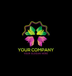 colorful body care leaves green nature logo vector image
