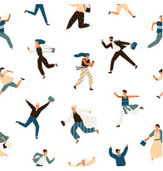 colorful hurry man and woman seamless pattern vector image