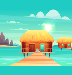 comfortable bungalows on tropical beach vector image