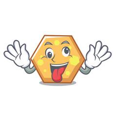 Crazy hexagon mascot cartoon style vector