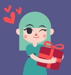 Cute Girl Holding a Presente vector