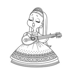 Cute princess sings and plays lute outlined vector