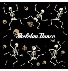 Dancing skeletons in different poses icons vector