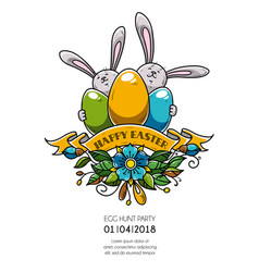 Design of happy easter poster invitation to party vector