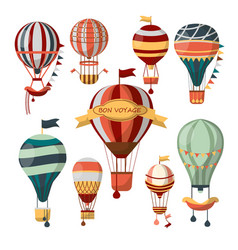 different flying aerostats with bon voyage words vector image