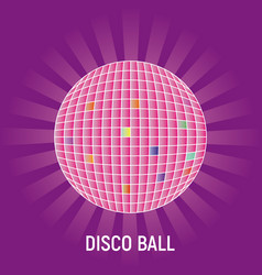 disco ball with rays on purple background vector image