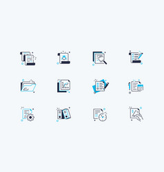 Documents line icons set vector