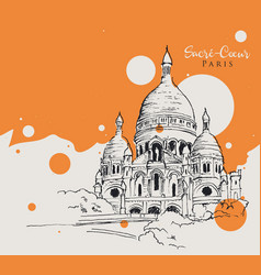 drawing sketch sacre coeur de paris vector image
