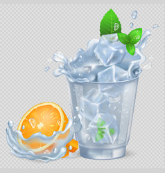 faceted glass of water with ice and orange vector image
