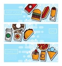 Fast food horizontal banner set vector image