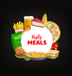 fast food round banner takeaway meals vector image
