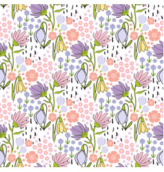 floral seamless hand drawn pattern with small vector image