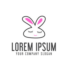 funny rabbit logo animal logo design concept vector image