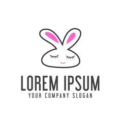 Funny rabbit logo animal logo design concept vector