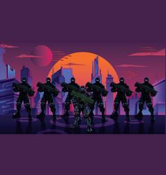 futuristic soldier squad in city vector image