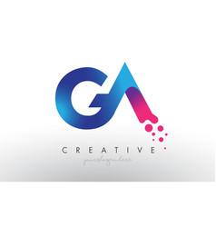 Ga letter design with creative dots bubble vector
