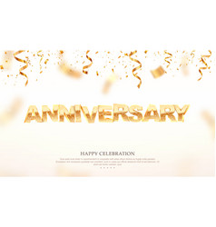 golden anniversary word 3d vector image