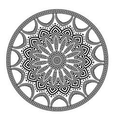Greek round mandala pattern black and white vector