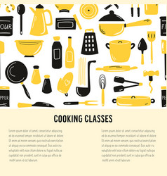 Hand drawn banner background with cooking vector
