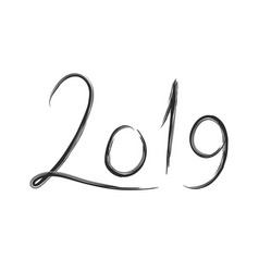 hand drawn lettering with 2019 number of new year vector image