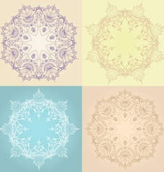 Hand-drawn lotus in east style circular pattern vector