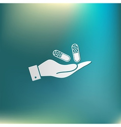 hand holding a pill tablet vector image