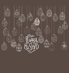 Hanging easter eggs ornament card vector