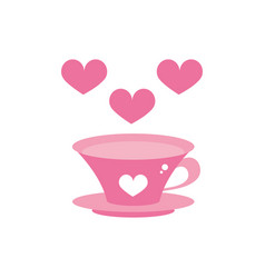 Happy valentines day hot coffee cup hearts love vector