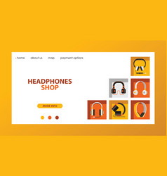 headphone headset listening to music landing web vector image