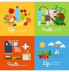 Healthy lifestyle elements vector image