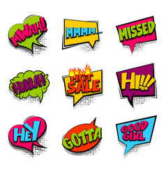 Hey hi hot sale colored comic text babble vector