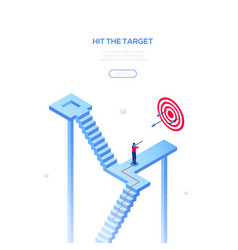 Hit the target - modern isometric web vector
