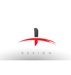 I brush logo letters with red and black swoosh vector